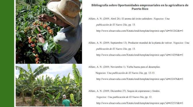 Bibliografía: Oportunidades Empresariales en la Agricultura