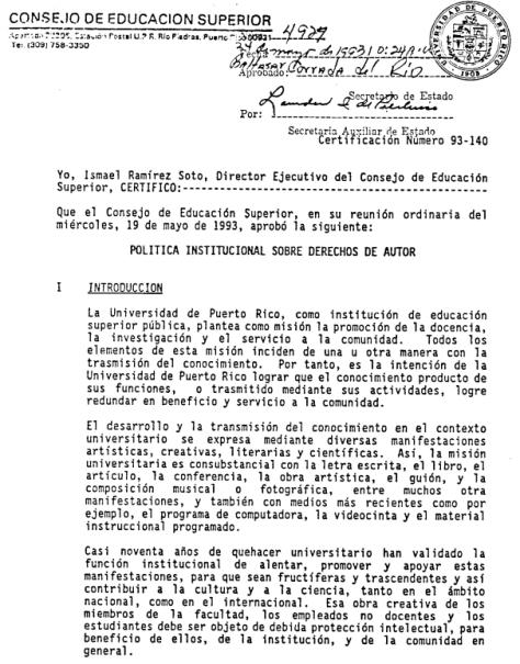 Política Institucional sobre Derechos de Autor en la UPR