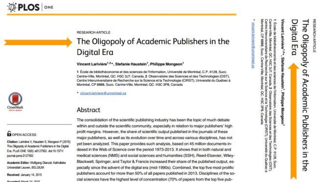 ¿Quienes son los que dominan los mercados de las revistas académicas en la época digital?
