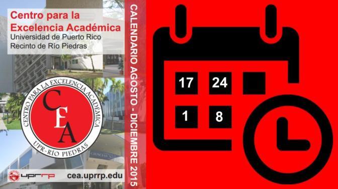 Calendario Centro de Excelencia Académica 1er Semestre 2015-2016