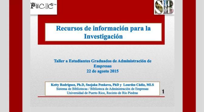 Recursos de Información EGAE [2015]