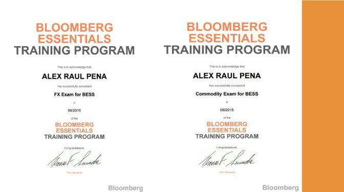 """Reconocimiento de culminación de Bloomberg (""""certificaciones"""")"""