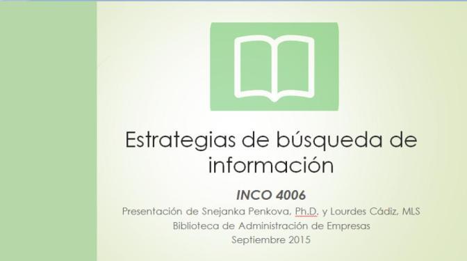 Estrategias de búsqueda de información ⌊INCO 4006⌉