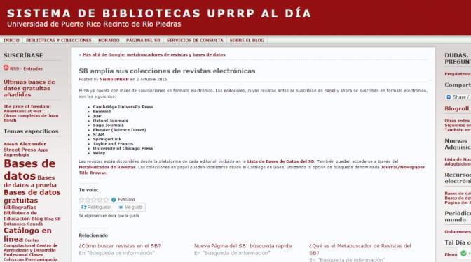 SB amplía sus colecciones de revistas electrónicas