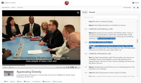 Así luce el video en la Base de Datos Suscrita de Alexander Street Press: Academic Video Online: Social Science. Tiene subtítulos a la derecha.
