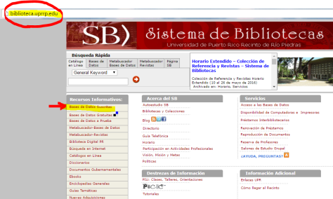 Paso 1: Accede al SB (http://biblioteca.uprrp.edu/).