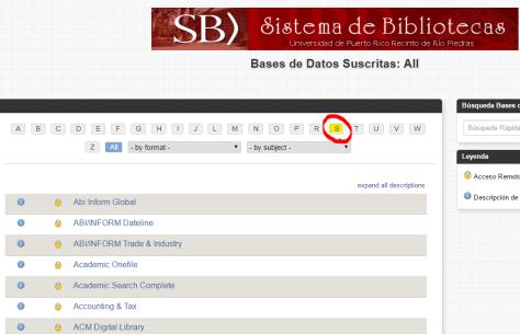 """Paso 2: Selecciona la letra """"S"""" en la barra superior para agilizar la búsqueda de la base de datos deseada."""