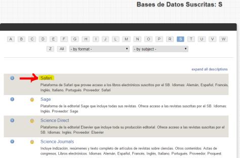"""Paso 3: Una vez aparezcan todas las bases de datos bajo la letra """"S"""", selecciona la primera que dice Safari."""