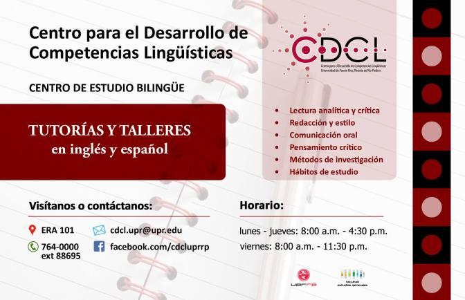 TALLERES Y TUTORÍAS INDIVIDUALES – DESARROLLO DE COMPETENCIAS LINGÜÍSTICAS (CDCL)